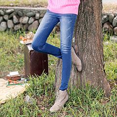 0206新品 極緻美型~牛仔布刷色彈性修身長褲.2色