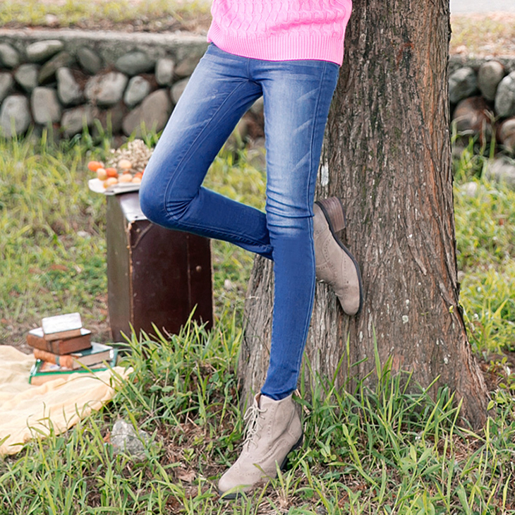 0429新品 極緻美型~牛仔布刷色彈性修身長褲.2色