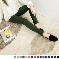 0909新品 美型風潮~斜紋輕刷毛彈力貼身立體剪裁長褲.16色