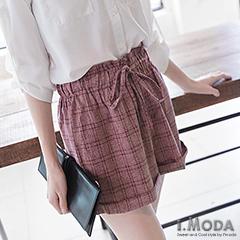 1002新品 都市輕雅~格紋抽繩造型俐落短褲.2色