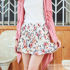 【顯瘦下著♥單件75折】浪漫綻放~滿版玫瑰印花百摺短裙.2色