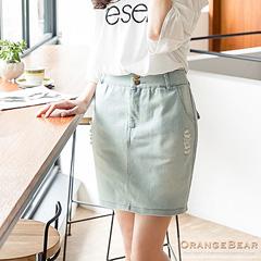 0825新品 好感輕甜~雙釦彈性抓破刷色牛仔短裙.2色
