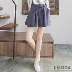 1002新品 悠閒品味~抽繩綁帶立體剪裁小圓裙.2色