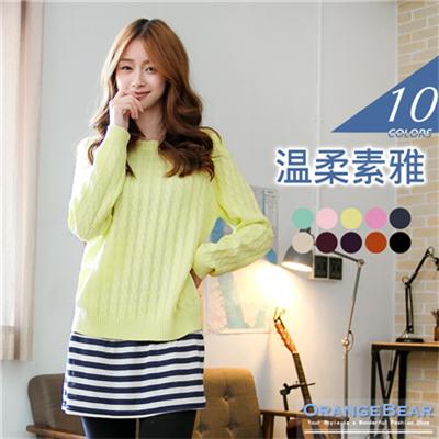 0121新品 溫柔素雅~圓領麻花編織針織長袖上衣‧7色
