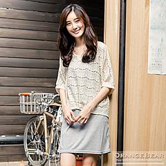 【春光燦爛♥洋裝75折】 浪漫女孩~兩件式鏤空緹花細肩洋裝.2色