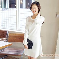 0903新品 溫柔優雅~素色條紋凸面拼接網紗洋裝.2色