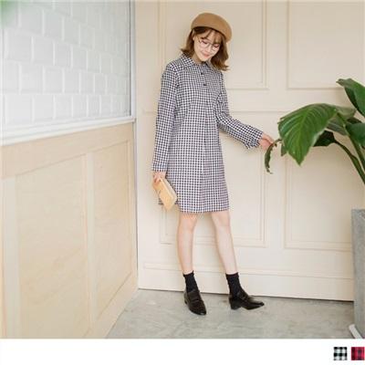 0304新品 格紋立體剪裁開襟反折袖洋裝.2色