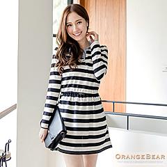 【甜蜜開春♥任選58折】甜美品味~菱格/黑白開襟拼水藍色領長袖洋裝.2色