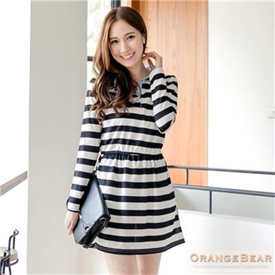甜美品味~菱格/黑白開襟拼水藍色領長袖洋裝.2色