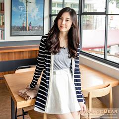 1030新品 唯美雅緻~條紋珍珠緹花裝飾開襟長版外套.3色