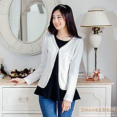 0422新品 優雅高端~經典珍珠緹花滾邊質感面料外套.2色