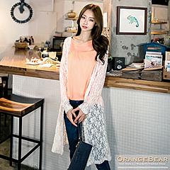 1024新品 優雅飄逸~緹花鏤空英文燙印長版外套.2色