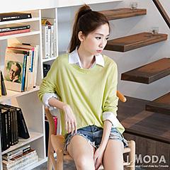 0901新品 單純自然~素色飛鼠袖寬版針織上衣.5色