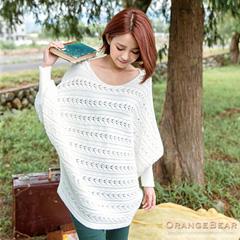 0902新品 溫柔甜美~微鏤空縮袖口飛鼠袖針織上衣.4色
