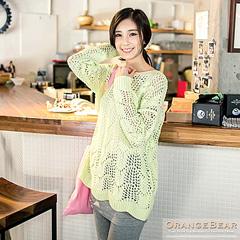 1007新品 輕甜可人~亮眼雙色鏤空針織毛衣.3色
