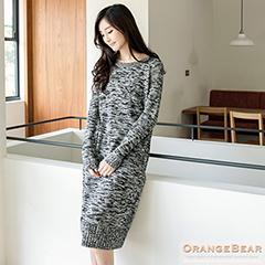 1017新品 暖暖時髦~圓領混色針織長洋裝.3色