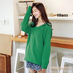 1118新品 溫柔恬靜~素色麻花編針織長版毛衣.4色