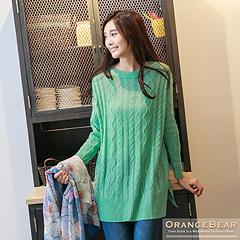 1024新品 單純恬靜~素色滿滿麻花辮長版針織上衣.4色