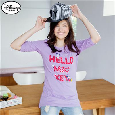 【季節限定♥單件8折】迪士尼純棉系列~HELLO小米奇反折袖T恤‧女3色