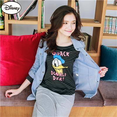【迪士尼♥限時6折】 迪士尼純棉系列~條紋歡樂唐老鴨U襬T恤.女3色