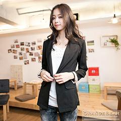 1118新品 女孩氣質~點點反折袖細身款西裝外套‧2色