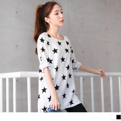 0519新品 時尚焦點~滿版黑白星星圖案長版上衣.2色