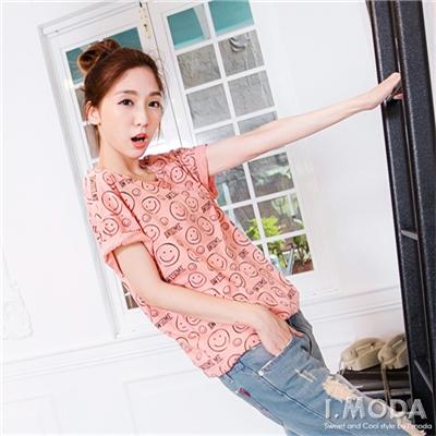 0714新品 愉快氛圍~滿版微笑英文燙印圖純棉T恤.2色