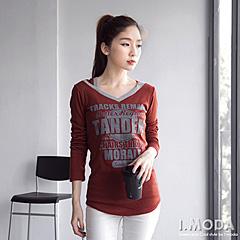 1030新品 美式浪潮~V領個性街頭風LOGO棉質帽長版T恤‧3色