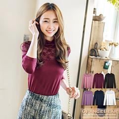 0114新品 優雅升級~第二代牛奶絲X蕾絲高領上衣.6色