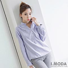 0918新品 品味風格~V領開襟縮下擺後領拼接反折長袖上衣.2色