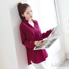 0917新品 優雅極簡~素色V領質感長袖上衣.2色