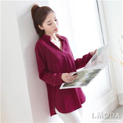 0303新品 優雅極簡~素色V領質感長袖上衣.2色