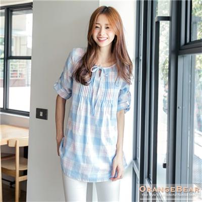 【春氛特賣】粉嫩可愛~格紋領口綁帶打摺修身反折袖長版上衣.2色