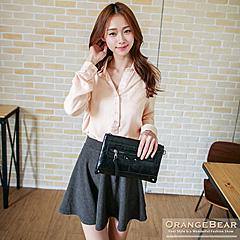 1022新品 知性氣質~斜紋質感面料開襟反折袖長版上衣.2色
