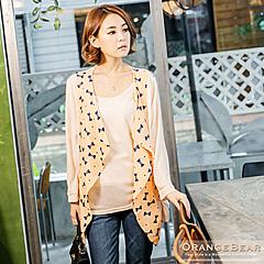 0916新品 甜美風情~蝴蝶結印花雙材質拼接假兩件上衣.2色
