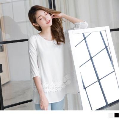0421新品 柔美怡人~雪紡層次拼接緹花長版上衣.2色