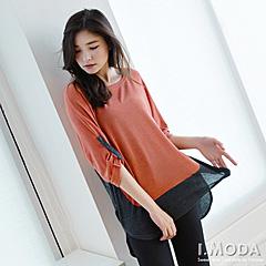 0916新品 迷人魅力~撞色拼接前短後長反折袖上衣.2色