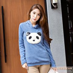 1024新品 可愛暖暖~柔軟面料貓熊亮面圖案連帽長袖上衣.3色