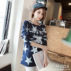 0915新品 休閒率性~滿版星星英文燙印刷毛料長版上衣.2色