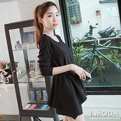 0917新品 高雅風采~凸面質感布料手帕式下襬長袖上衣.2色
