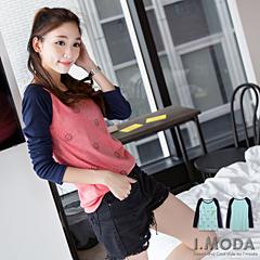 1003新品 可愛女生~撞色英文微笑燙印圖插肩袖圓領T恤.2色