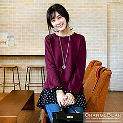 1120新品 復古輕甜~質感面料拼接點點袖口傘襬長版上衣.2色