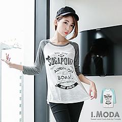 1023新品 個性魅力~英文燙印小蝴蝶結裝飾插肩袖T恤.2色