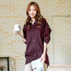 0917新品 美好時光~鏤空緹花拼接連袖前短後長襯衫.3色