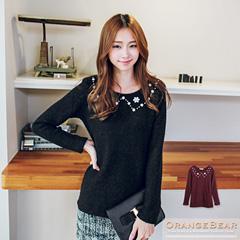 0130新品 溫柔可愛~素色毛料領口珍珠小花裝飾長袖上衣.2色