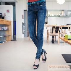 0423新品 專屬質感~嚴選刷色抓痕圓點口袋牛仔窄管褲
