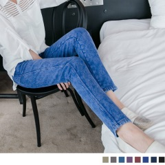 0917新品 抗寒關鍵~搖粒絨雪花牛仔窄管褲.8色
