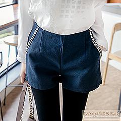 0925新品 絕美曲線.毛料打摺立體剪裁微金蔥毛邊裝飾短褲.3色
