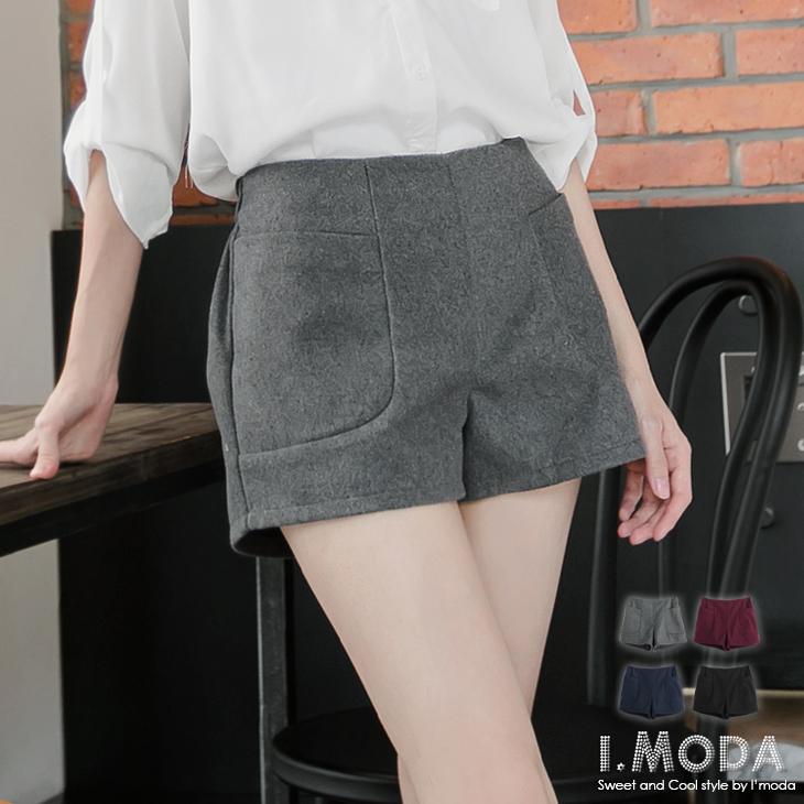 0930新ob 心得品 俏麗架勢~立體剪裁質感毛料短褲.4色
