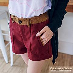 1002新品 時髦優雅~撞色毛料修身美型立體剪裁短褲.3色